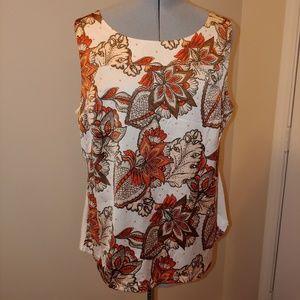 Ann Taylor floral tank white/orange/brown XL